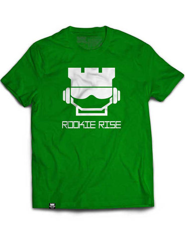 Rook Face Tee - Green/White - Rookie Rise Clothing