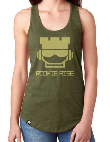 Rook Face Racerback - Military/Gold - Rookie Rise Clothing