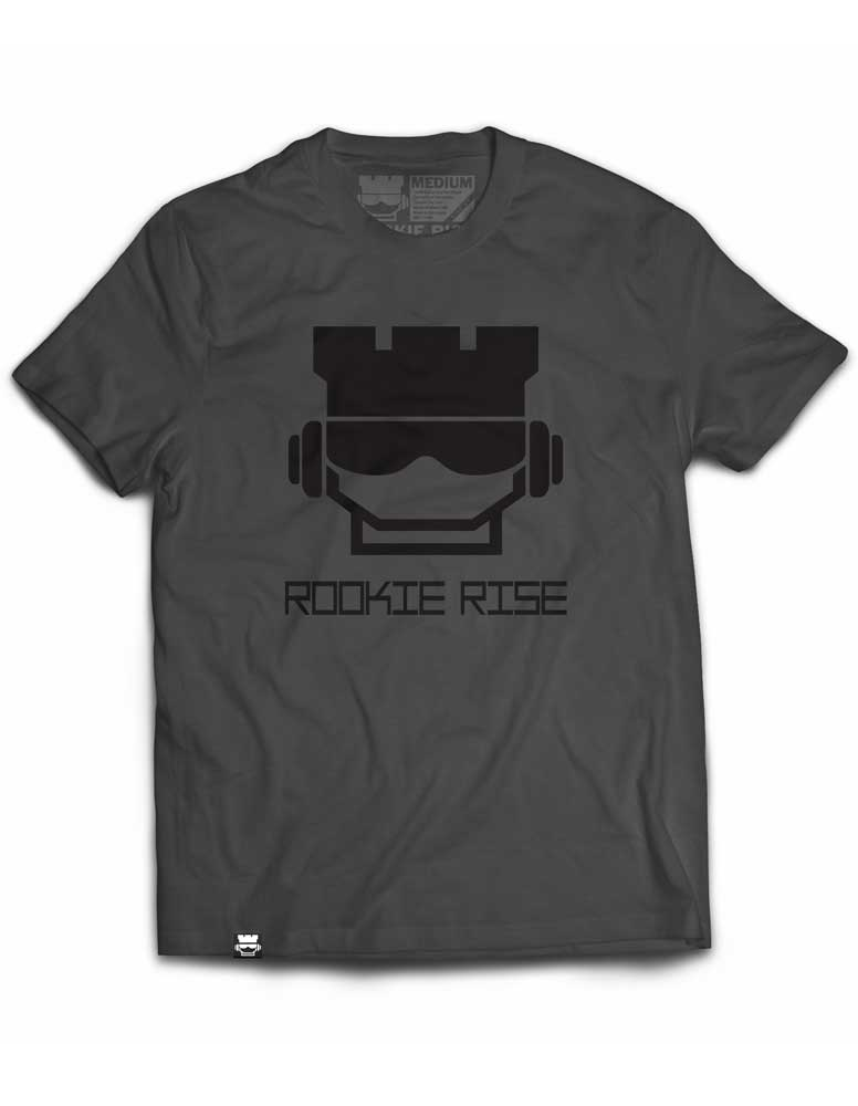 Rook Face Tee - Charcoal/Black - Rookie Rise Clothing