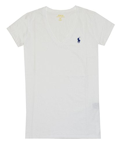Polo Ralph Lauren Women S Pony Logo V Neck Tee White Ambition