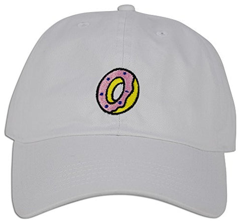 0852851dec669 DONUT Hat Dad Embroidered Cap Polo Style Baseball Curved Unstructured Bill  (White)