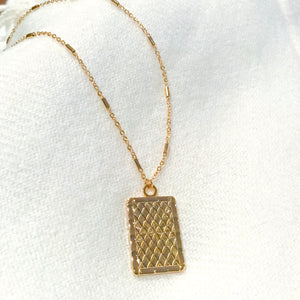 Charlize Aurora Rectangle Coin Necklace
