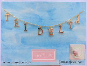 Delta Delta Delta TRI DELTA Sorority Letter Necklace
