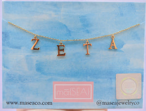 Zeta Tau Alpha ZETA Sorority Letter Necklace