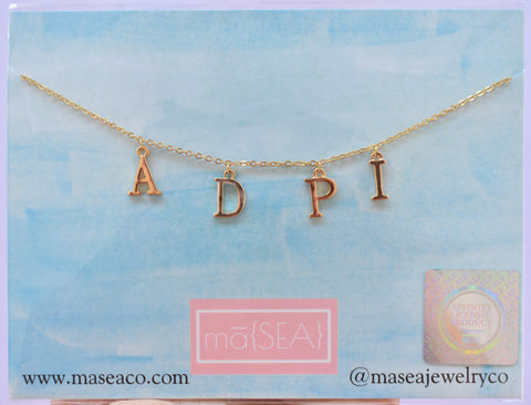 Alpha Delta Pi ADPi Sorority Letter Necklace