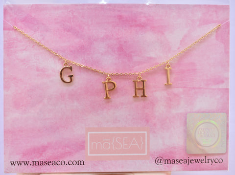Gamma Phi Beta G PHI Sorority Letter Necklace