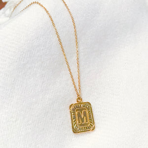 Demi Briella Rectangle Coin Initial Necklace