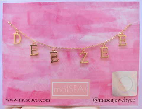 Delta Zeta DEE ZEE Sorority Letter Necklace
