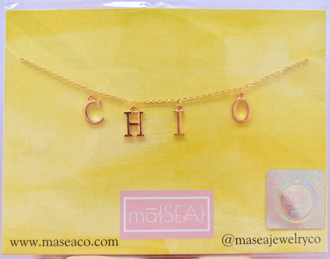 Chi Omega CHI O Sorority Letter Necklace