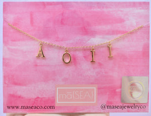 Alpha Omicron Pi AOII Sorority Letter Necklace