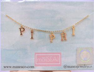 Pi Beta Phi PI PHI Sorority Letter Necklace