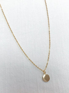 Dainty Gold Circle Tag Necklace