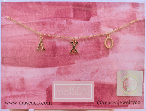 Alpha Chi Omega AXO Sorority Letter Necklace