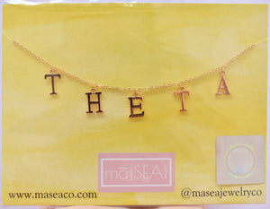 Kappa Alpha Theta THETA Sorority Letter Necklace
