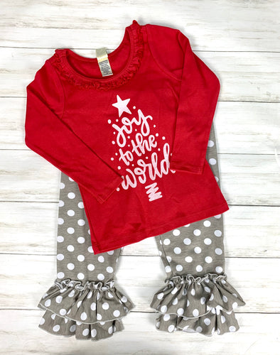 long sleeve red ruffle JOY to the World for GIRLS