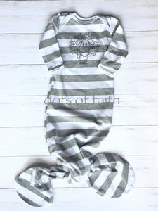 lamb GREY stripe baby long gown