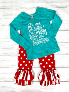 long sleeve turquoise ruffle GNOME for GIRLS