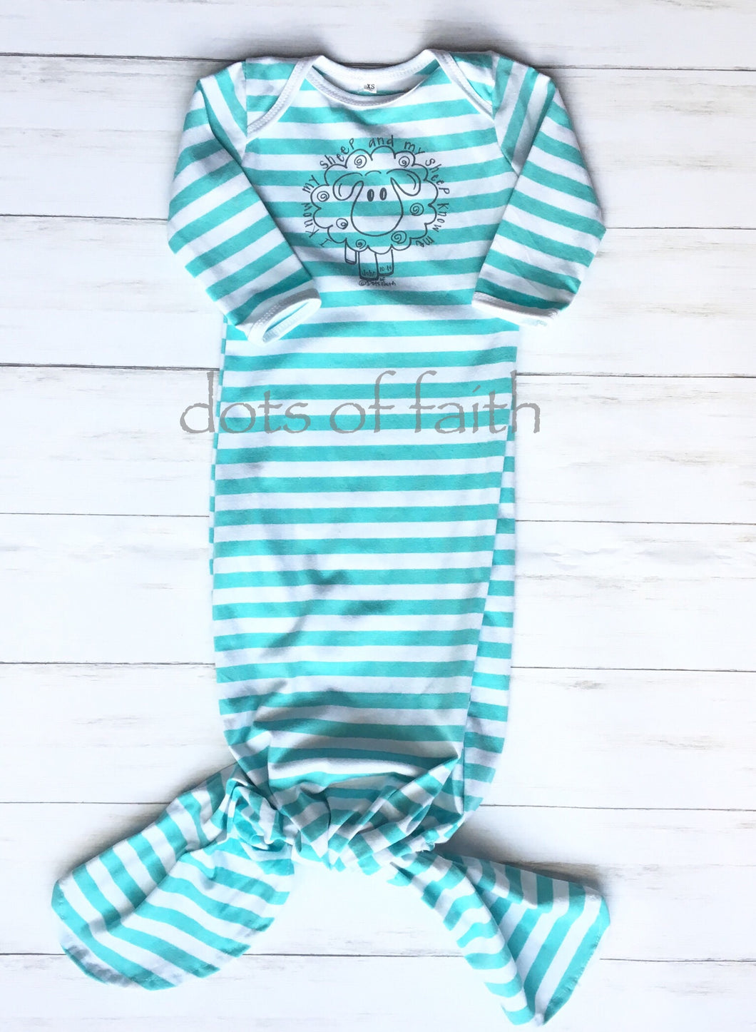 lamb TURQUOISE stripe baby long gown