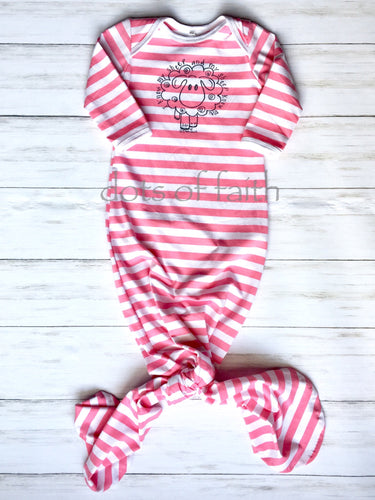 lamb PINK stripe baby long gown