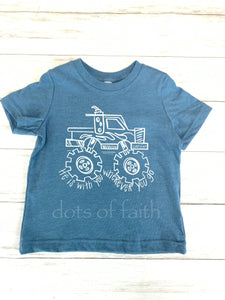 monster truck short sleeve boys shirt