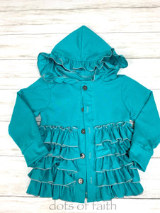 tuquoise ruffle jacket for GIRLS
