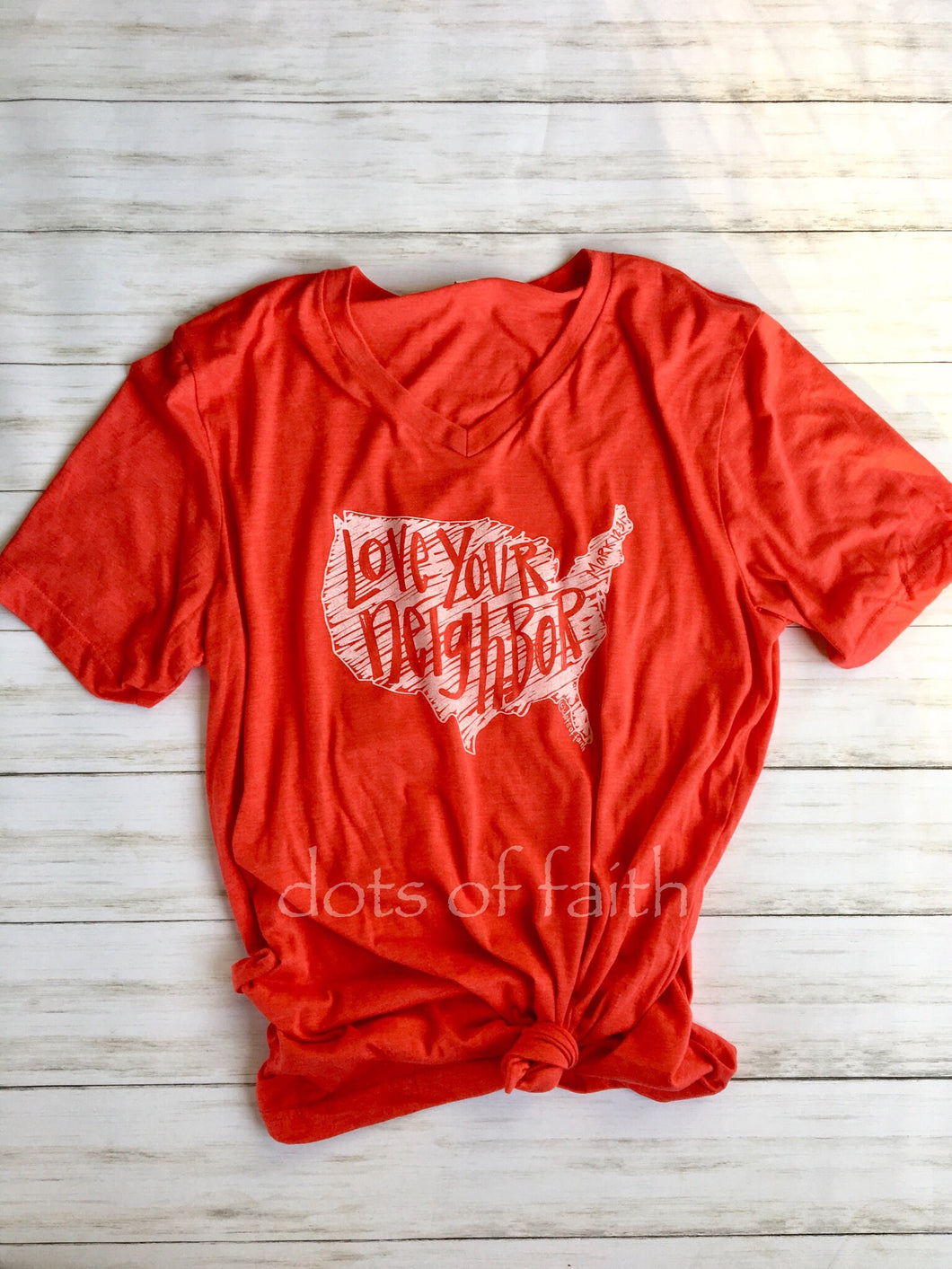 love your neighbor ADULT V-neck RED