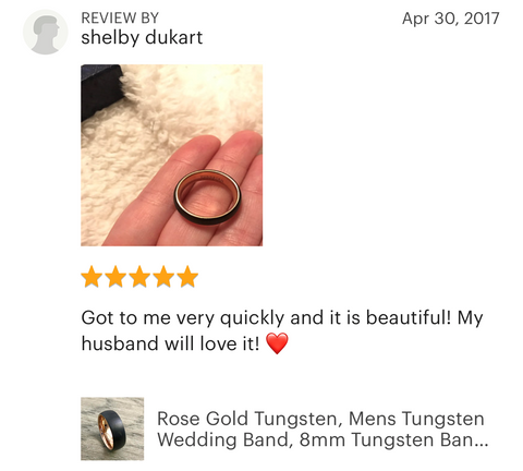 Tungsten Carbide Wedding Band Ring Nefestreasures 5 star review