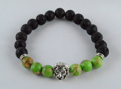 Lion-Head-Lava-Rock-Yoga-Bead-Bracelet-Green-Agate-Stone