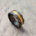 Brass hammered Damascus steel ring