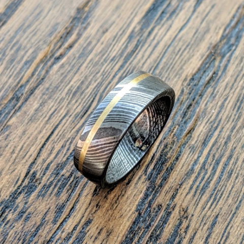 damascus steel brass inlay
