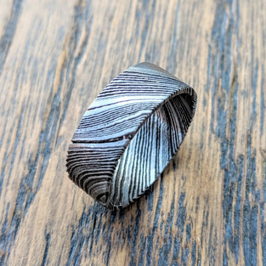 Etched Damascus Steel Ring