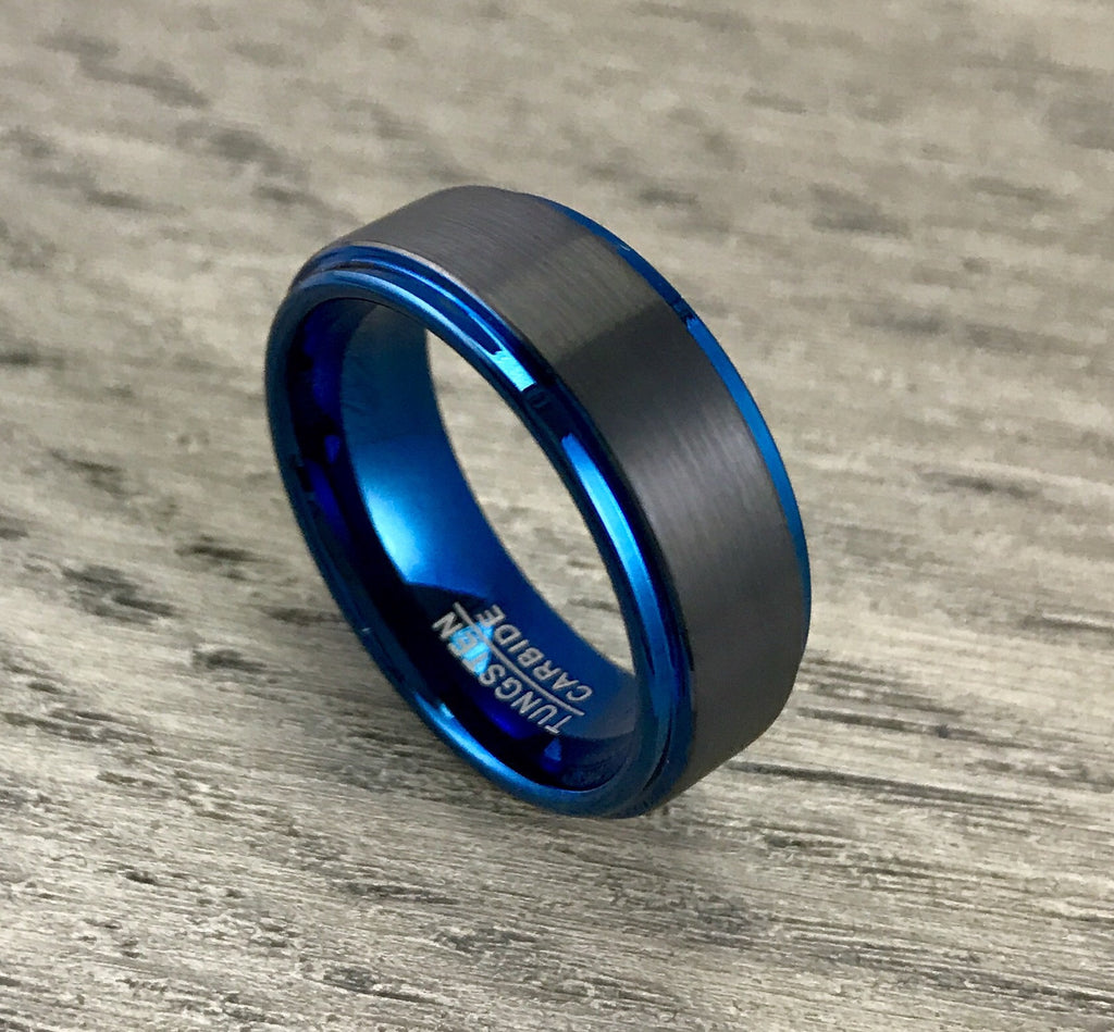 8mm Brushed Black and Blue Tungsten Wedding Band- Comfort Fit