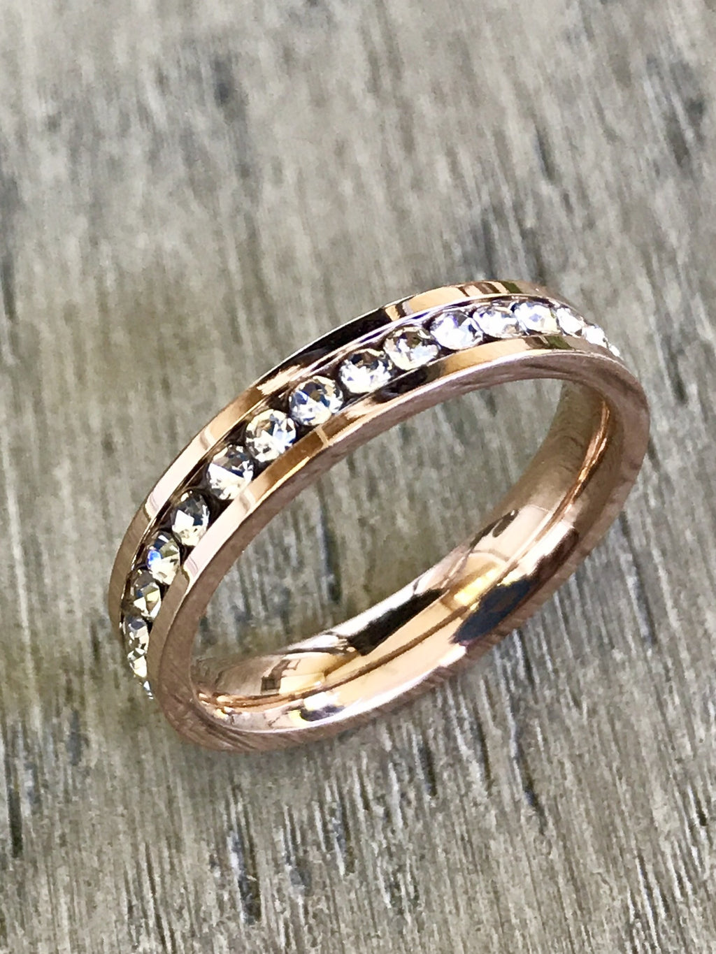 Stackable Rose Gold Plated Stainless Steel CZ Eternity Band