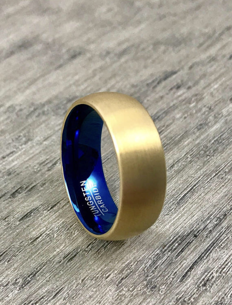 8mm Brushed Gold and Blue Tungsten Carbide Wedding Band - Comfort Fit