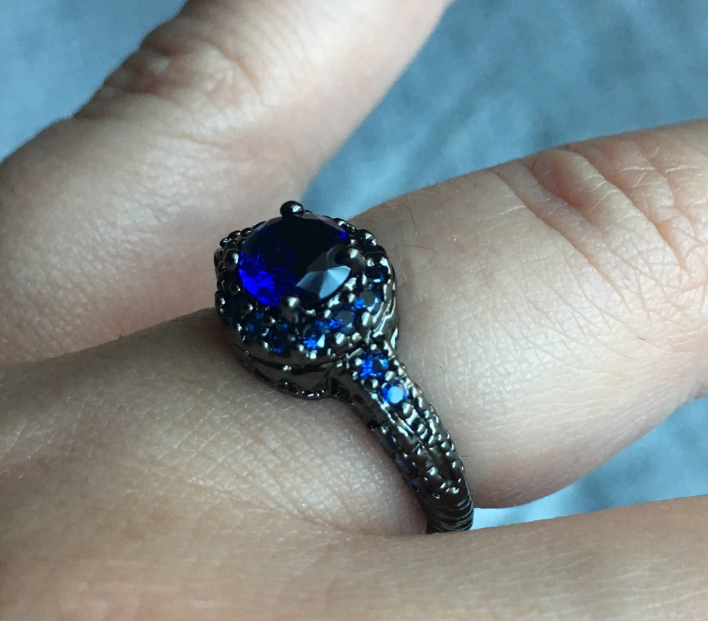 Vintage Black Gold Filled Sapphire CZ Statement Ring