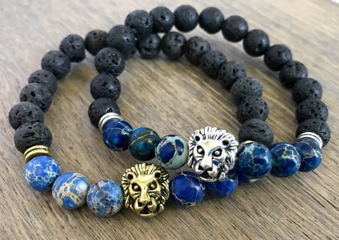 Aromatherapy Lava and Blue Agate Lion Bracelet