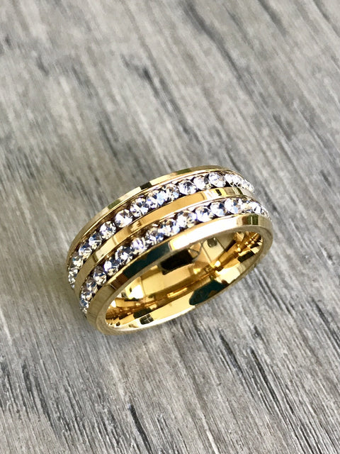 8mm CZ Gold-plated ring Stainless Steel Eternity Band