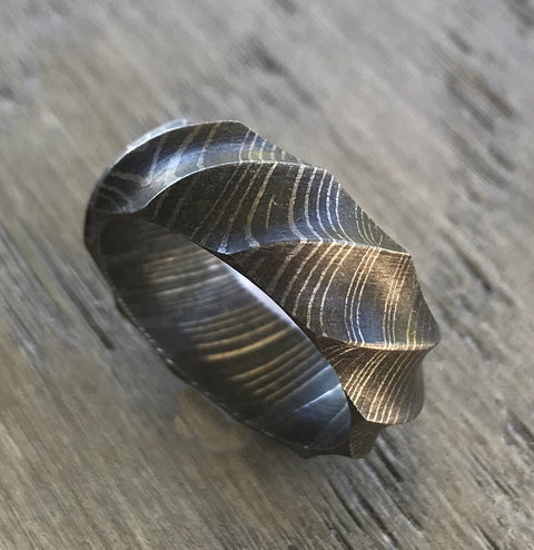 Custom Textured Damascus Steel Ring, Width: 4, 6, 8, or 10mm