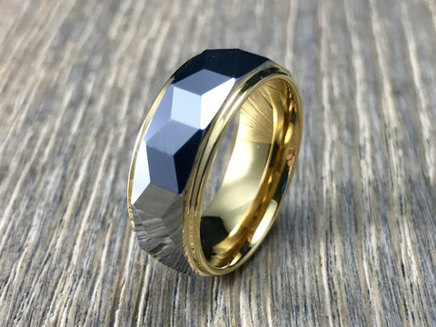 8mm Geometric Silver and Gold Tungsten Carbide Wedding Band- Comfort fit