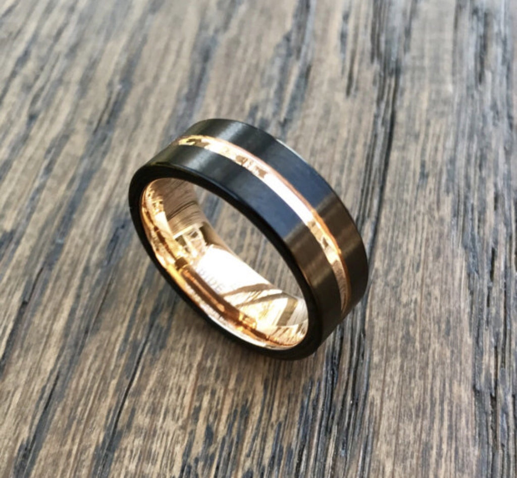 8mm Black Satin and Rose Gold Tungsten Carbide Wedding Band- Comfort fit