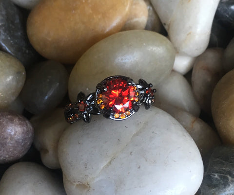 Vintage Black Gold Filled Ruby CZ Engagement Ring