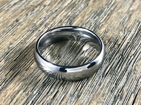 6mm Polished Silver Tungsten Carbide Wedding Band - Comfort Fit
