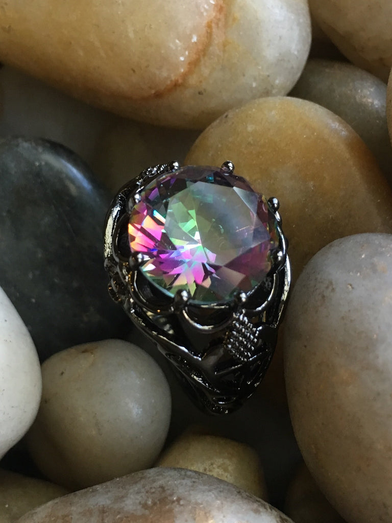 Black Gold Filled Mystic Topaz CZ Kaleidoscope Ring