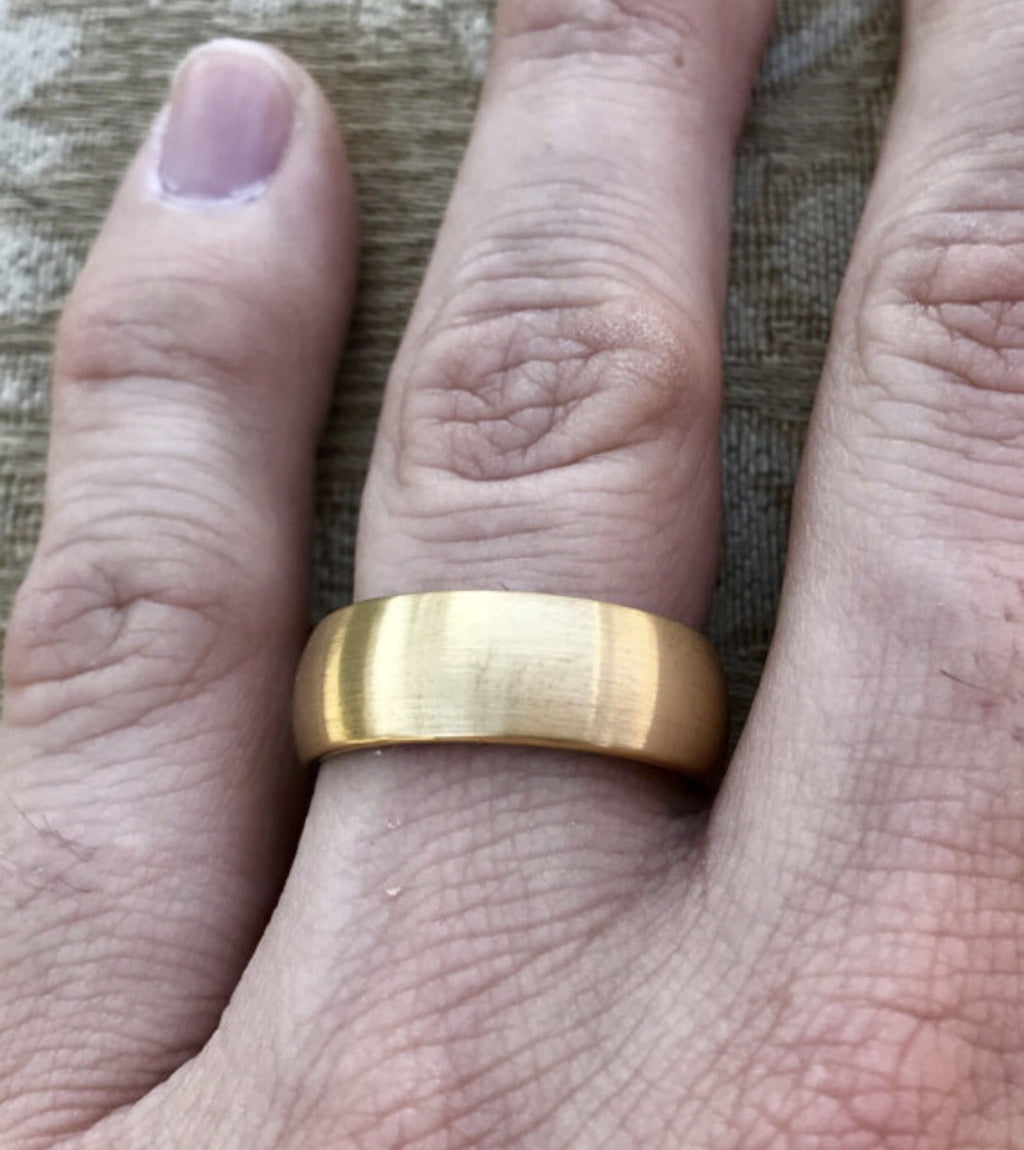 8mm Brushed Gold And Blue Tungsten Carbide Wedding Band Fort Fit: 8mm Wedding Band Ring On Hand At Reisefeber.org