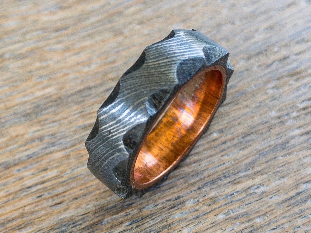 Custom Damascus Steel Ring With Copper Liner, Width: 4, 6, 8, or 10mm