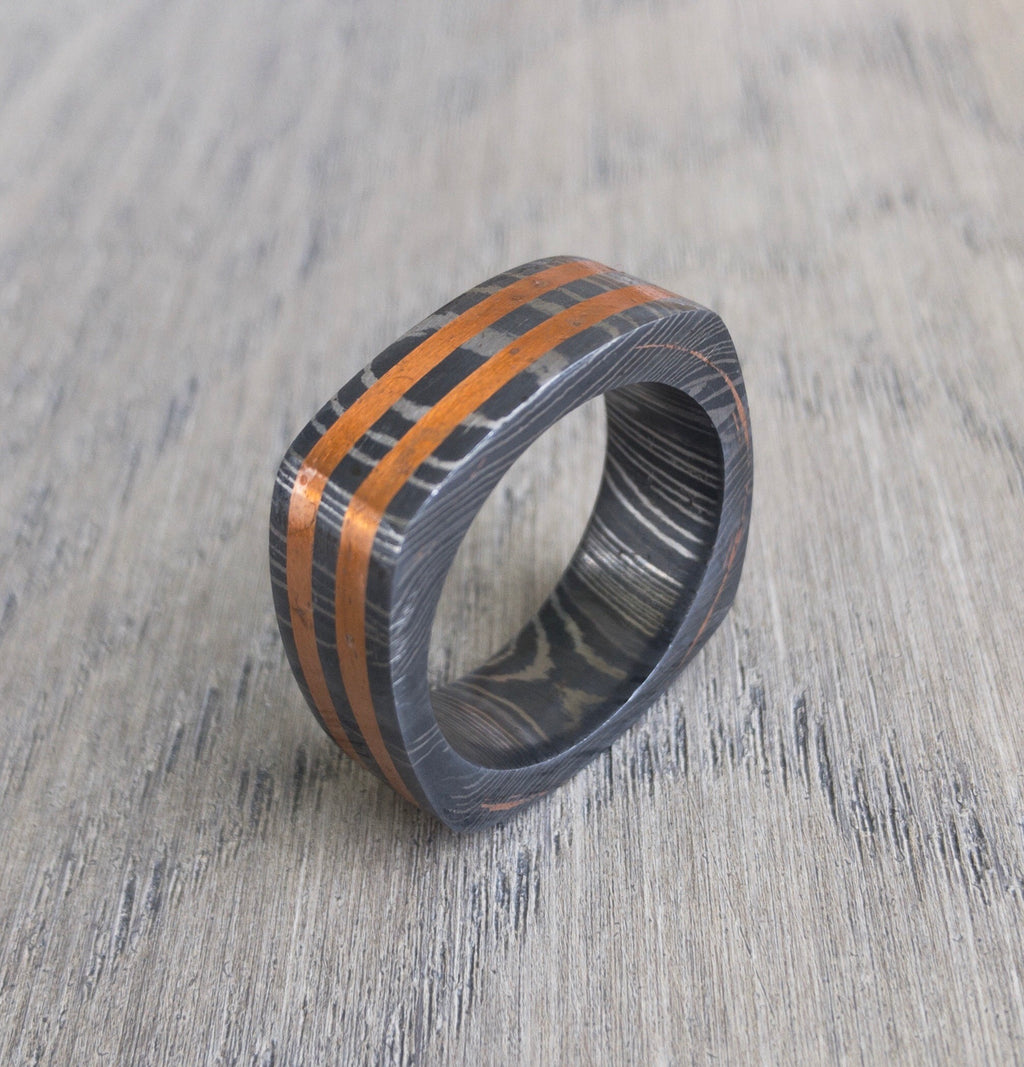 Custom Square Damascus Steel Ring with Copper Inlay, Width: 4, 6, 8, or 10mm