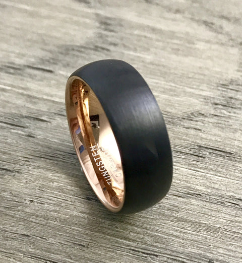 8mm Black Brushed and Rose Gold Tungsten Carbide Wedding Band - Comfort Fit