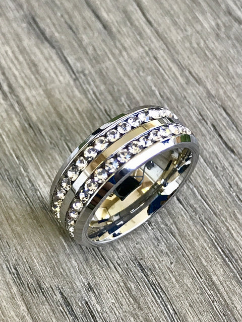Beautiful 8mm CZ Silver-Plated Stainless Steel Eternity Band