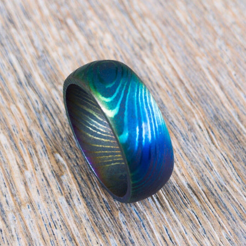 Custom Rainbow Anodized Damascus Steel Ring, Width: 4, 6, 8, or 10mm