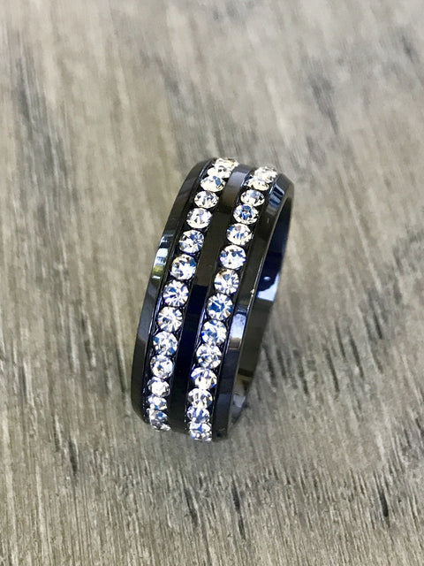 8mm CZ Black Rhodium-Plated Stainless Steel Eternity Band
